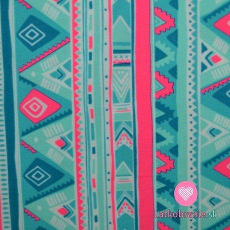 Plavkovina (lycra) modro růžové geometrické tvary
