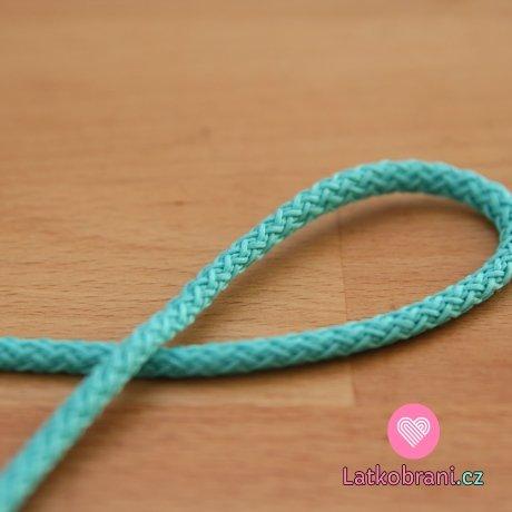 Šňůra kulatá oděvní PES 4 mm smaragdovo-tyrkysová