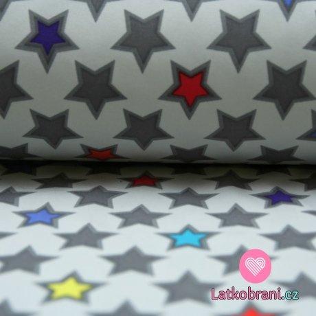 Softshell hvězdy ohraničené na šedé s fleecem