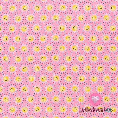 Úplet potisk veselá sluníčka na růžové