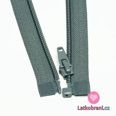 Zip spirálový dělitelný šedý tmavší 65cm