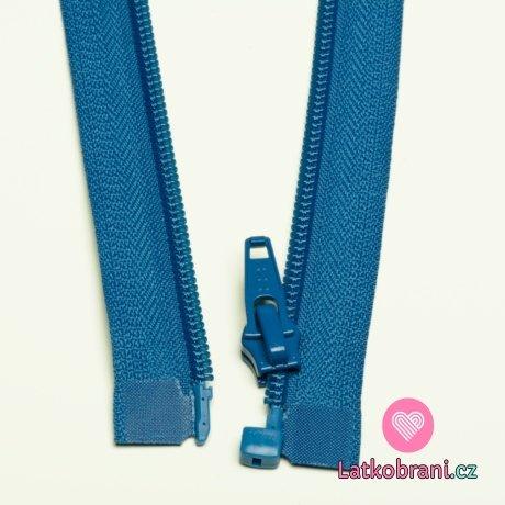 Zip spirálový dělitelný jeansově modrý 55cm