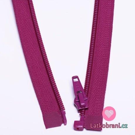 Zip spirálový dělitelný amarantový 40cm