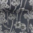 Teplákovina s příměsí modalu potisk černobílá kvítka na šedé