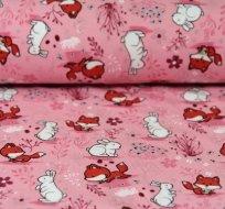 Úplet lištičky na s králíčky na růžové