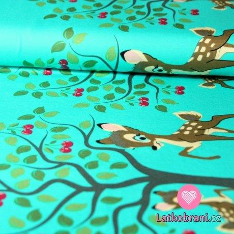 Bordura úplet koloušek se stromy na modro-smaragdové