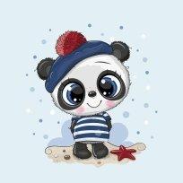 Panel panda v pruhovaném triku a modré čepici