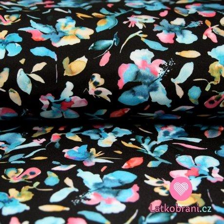 Softshell ibišek modré květy na černé