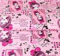 Bavlněný úplet lady s mašlí na hlavě na růžové