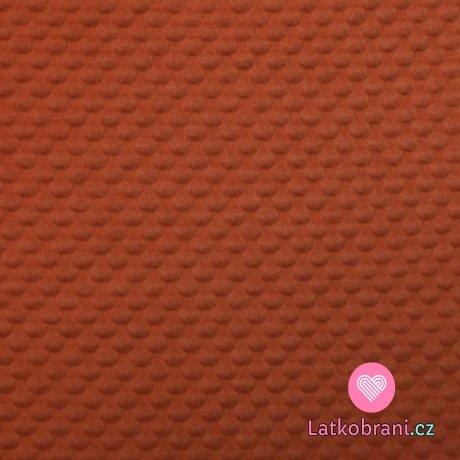Pletenina bublinky plastické tmavá oranžová sytá