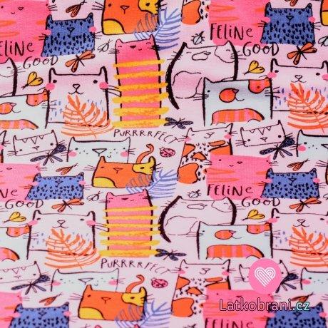 Teplákovina potisk kočky s peříčky a motýlky na baby růžové