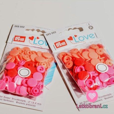 Patentky plastové Color snaps PRYM LOVE růžové, oranžové, červené