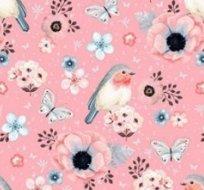 Teplákovina ptáčci na růžové -ZBYTEK