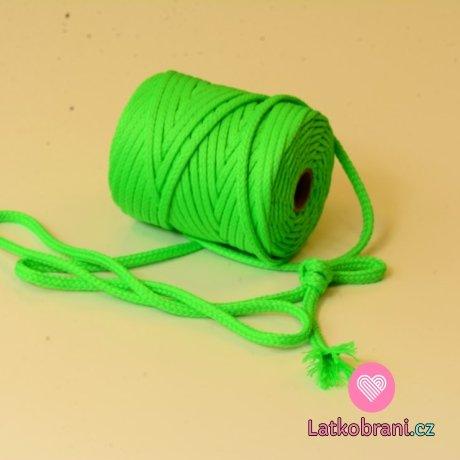 Šňůra kulatá oděvní PES 7 mm neonově zelená