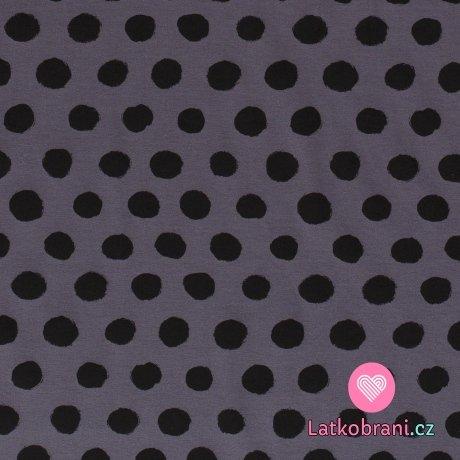 Úplet potisk nepravidelné černé puntíky na středně šedé