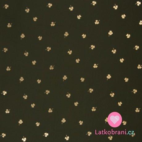Softshell s beránkem, potisk zlaté trojlístky a čtyřlístky na khaki zelené