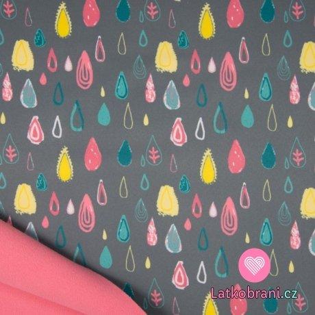 Softshell veselé barevné kapičky na šedé