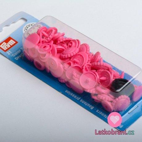 Patentky plastové Color snaps KVĚTINKA tmavě růžová