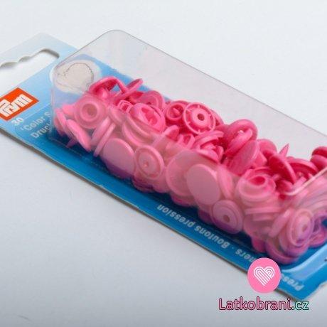 Patentky plastové Color snaps SRDCE tmavě růžová