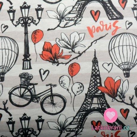 Bavlněný úplet Paříž na šedých proužcích