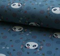 Teplákovina panda na modré (tmavější)