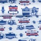 Bavlněný úplet oboulícní požární auta na bílé, BIO