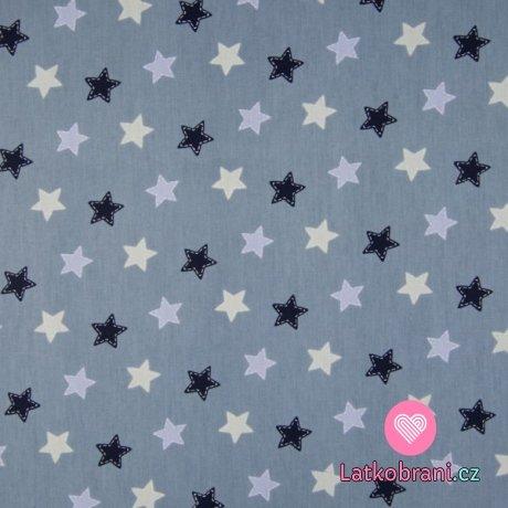 Bavlněný popelín potisk hvězdičky na zaprášené modré