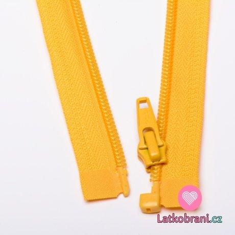 Zip spirálový dělitelný žlutý 50cm