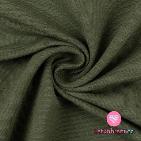 Teplákovina počesaná zelená khaki