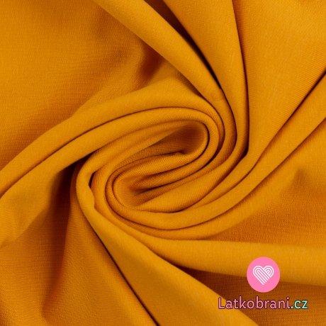 Teplákovina jednobarevná počesaná žlutá hořčicová
