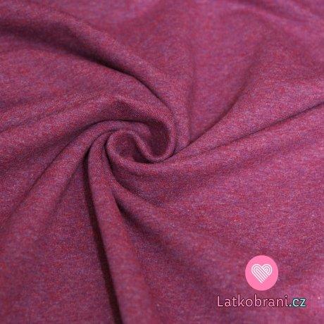 Teplákovina barevná příze amaranthová melé