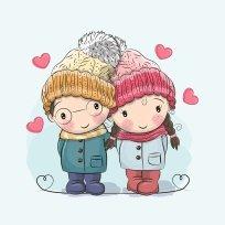 Panel kluk a dívka v čepici na světle modré
