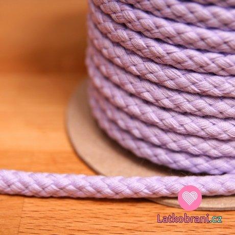 Šňůra kulatá oděvní BAVLNA 9 mm světle fialová