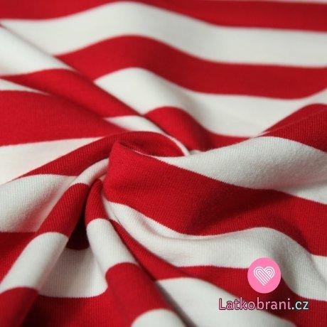 Teplákovina proužky stejně široké červené a bílé
