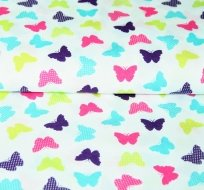 Bavlněný úplet barevní motýlci na bílé