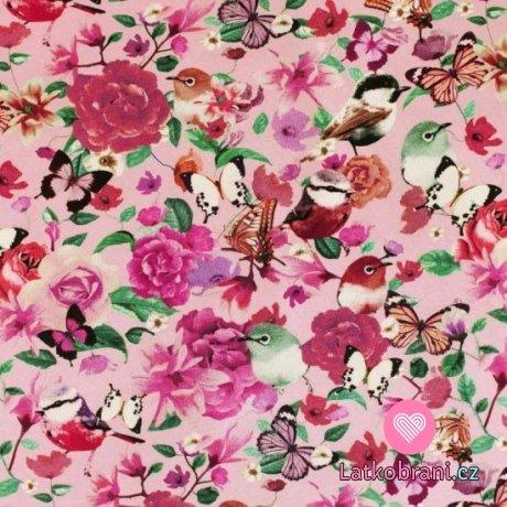 Úplet potisk motýlci, ptáčci a květy na růžové