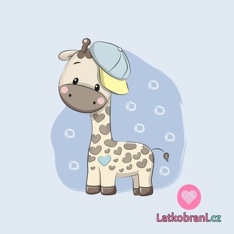 Panel žirafka v čepici na modré