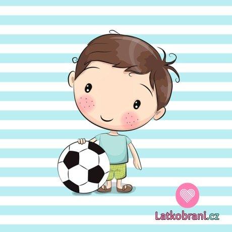 Panel chlapec fotbalista na bílo - modrém pruhovaném podkladu