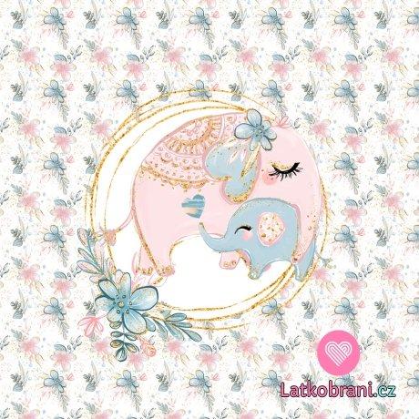 Panel sloní máma a slůňátko v objetí na květinovém podkladu