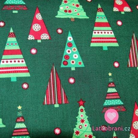 Vánoční bavlna zelená se stromky  - plátno