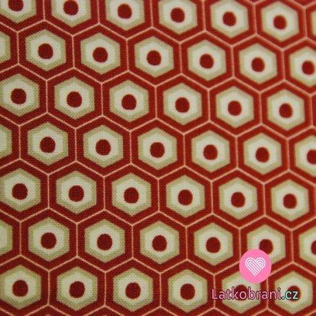 Bavlněná látka šestiúhelníky - plátno