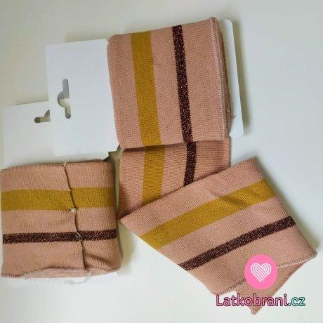 Náplet kusový okrový a třpytivý hnědý proužek na pudrově růžové 135 cm