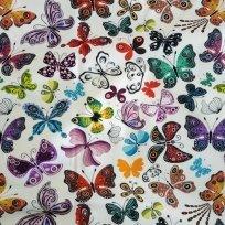 Teplákovina potisk folklór motýlci na bílé