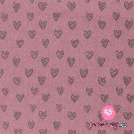 Softshell potisk reflexní srdíčka na růžové