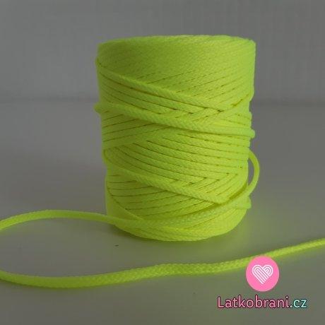 Šňůra oděvní kulatá  PES 4 mm neonově žlutá