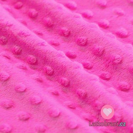 "Minky fleece - bublinky ""barbie"" růžová"