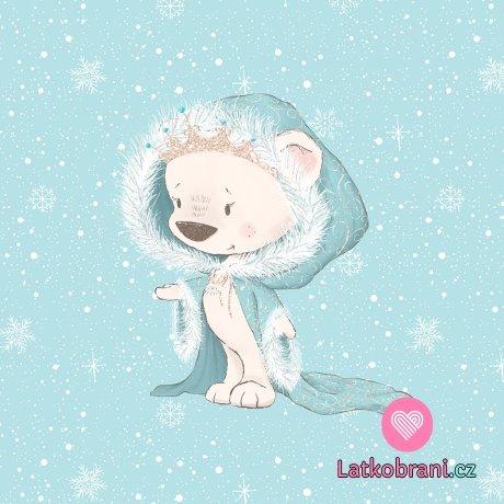 Panel medvědí princezna v modrém kabátku na nebesky modré