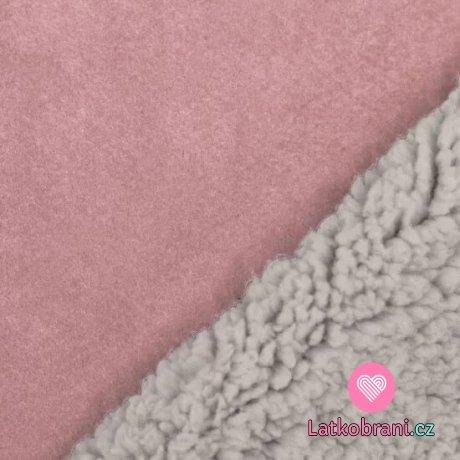 Umělá kožešina / imitace ovčího rouna (sherpa) růžová
