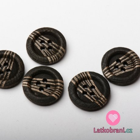 Knoflík kulatý, dřevěný tmavě hnědý s bronzovými paprsky