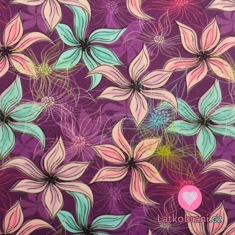 Teplákovina potisk malované plumérie na fialové